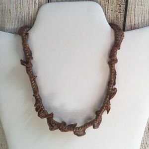 Adia beaded mesh brown necklace